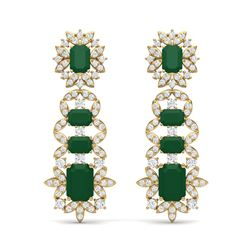 30.25 ctw Emerald & VS Diamond Earrings 18K Yellow Gold