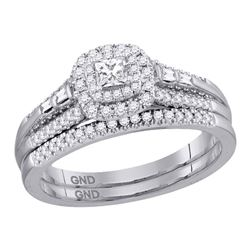 14kt White Gold Princess Diamond Bridal Wedding Engagement Ring Band Set 1/2 Cttw