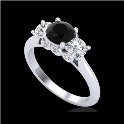 1.5 ctw Fancy Black Diamond Art Deco 3 Stone Ring 18K White Gold