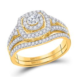 14kt Yellow Gold Round Diamond Bridal Wedding Engagement Ring Band Set 3/4 Cttw