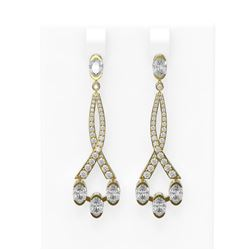 5.45 ctw Oval Diamond Earrings 18K Yellow Gold