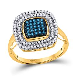 10kt Yellow Gold Round Blue Color Enhanced Diamond Square Frame Cluster Ring 1/2 Cttw