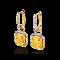 7 ctw Citrine & Micro Pave VS/SI Diamond Earrings 18K Yellow Gold