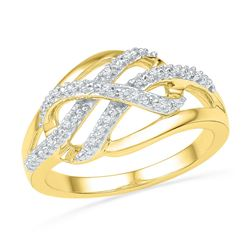 10kt Yellow Gold Round Diamond Woven Crossover Band Ring 1/20 Cttw
