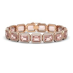 37.11 ctw Morganite & Diamond Micro Pave Halo Bracelet 10K Rose Gold