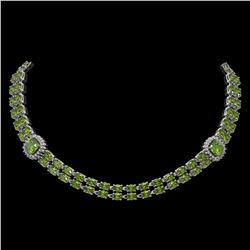 38.37 ctw Tourmaline & Diamond Necklace 14K White Gold