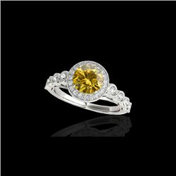 1.93 ctw Certified SI/I Fancy Intense Yellow Diamond Ring 10K White Gold