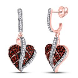 10kt Rose Gold Round Red Color Enhanced Diamond Heart Dangle Screwback Earrings 1/3 Cttw