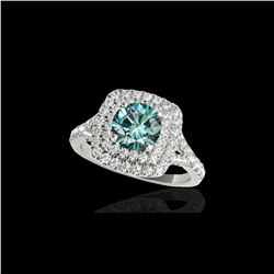 1.6 ctw SI Certified Fancy Blue Diamond Solitaire Halo Ring 10K White Gold