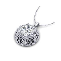 1.11 ctw VS/SI Diamond Solitaire Art Deco Stud Necklace 18K White Gold