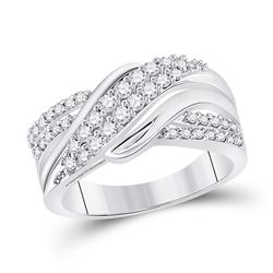10kt White Gold Round Diamond Crossover Band Ring 1/2 Cttw