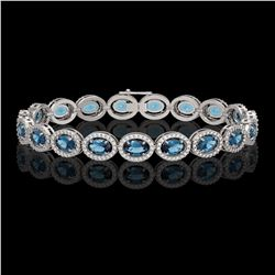 14.82 ctw London Topaz & Diamond Micro Pave Halo Bracelet 10K White Gold