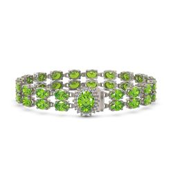 26.52 ctw Peridot & Diamond Bracelet 14K White Gold
