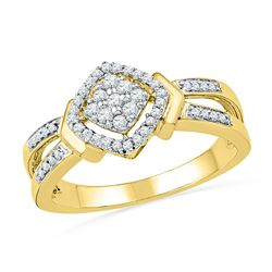 10kt Yellow Gold Round Diamond Square Cluster Ring 1/4 Cttw