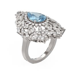 4.67 ctw Blue Topaz & Diamond Ring 18K White Gold