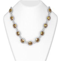 129.15 ctw Canary Citrine & Diamond Necklace 18K White Gold