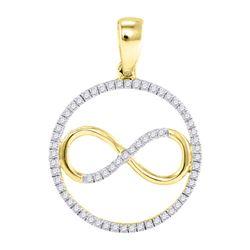 10kt Yellow Gold Round Diamond Infinity Circle Pendant 1/4 Cttw