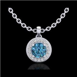 1 ctw Intense Blue Diamond Art Deco Stud Necklace 18K White Gold