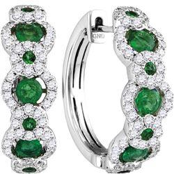 18kt White Gold Round Emerald Diamond Hoop Earrings 5/8 Cttw