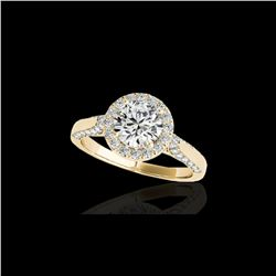 1.5 ctw Certified Diamond Solitaire Halo Ring 10K Yellow Gold