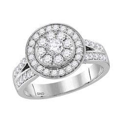 14kt White Gold Round Diamond Cluster Bridal Wedding Engagement Ring 1-1/4 Cttw