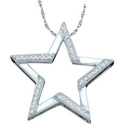 10kt White Gold Round Diamond Star Outline Pendant 1/10 Cttw