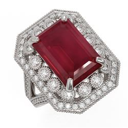 11.98 ctw Certified Ruby & Diamond Victorian Ring 14K White Gold