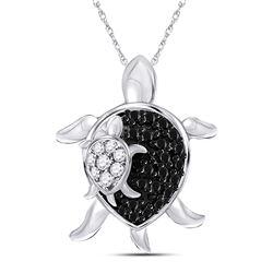 10kt White Gold Round Black Color Enhanced Diamond Turtle Animal Pendant 1/8 Cttw