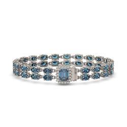 27.91 ctw London Topaz & Diamond Bracelet 14K White Gold