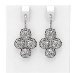 4.43 ctw Cushion Diamond Earrings 18K White Gold