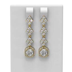 3.86 ctw Cushion Diamond Earrings 18K Yellow Gold