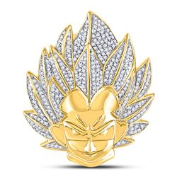 10kt Yellow Gold Mens Round Diamond Super Saiyan Charm Pendant 3/4 Cttw