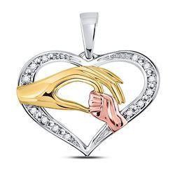 10kt Tri-Tone Gold Round Diamond Mom Mother Child Hands Pendant 1/12 Cttw