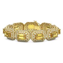 49.68 ctw Canary Citrine & Diamond Victorian Bracelet 14K Yellow Gold