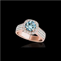 1.8 ctw SI Certified Fancy Blue Diamond Solitaire Halo Ring 10K Rose Gold