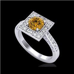1.1 ctw Intense Fancy Yellow Diamond Art Deco Ring 18K White Gold