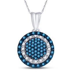 10kt White Gold Round Blue Color Enhanced Diamond Circle Frame Cluster Pendant 1/4 Cttw