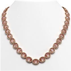 52.63 ctw Morganite & Diamond Micro Pave Halo Necklace 10K Rose Gold