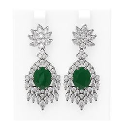 16.04 ctw Emerald & Diamond Earrings 18K White Gold