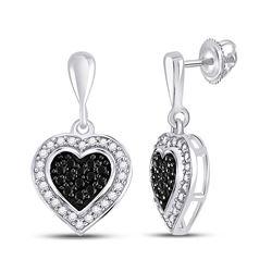 10kt White Gold Round Black Color Enhanced Diamond Heart Frame Dangle Earrings 1/2 Cttw