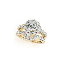 3.11 ctw Certified VS/SI Diamond 2pc Wedding Set Halo 14K Yellow Gold