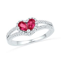 10kt White Gold Pear Lab-Created Ruby Heart Split-shank Ring 3/4 Cttw
