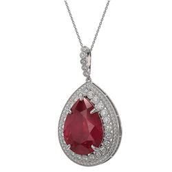 42.84 ctw Certified Ruby & Diamond Victorian Necklace 14K White Gold