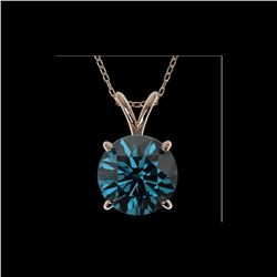 2.04 ctw Certified Intense Blue Diamond Necklace 10K Rose Gold