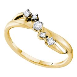 14kt Yellow Gold Round Diamond 5-stone Crossover Band Ring 1/6 Cttw