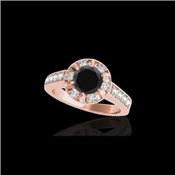 2 ctw Certified VS Black Diamond Solitaire Halo Ring 10K Rose Gold