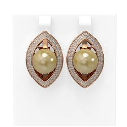 1.61 ctw Diamond and Pearl Earrings 18K Rose Gold