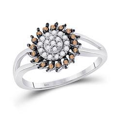 10kt White Gold Round Brown Diamond Flower Cluster Ring 1/4 Cttw