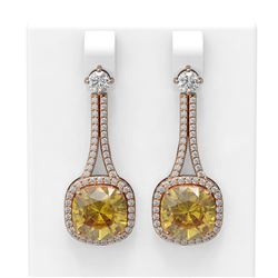 13.7 ctw Canary Citrine & Diamond Earrings 18K Rose Gold