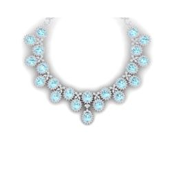 83 ctw Sky Topaz & VS Diamond Necklace 18K White Gold